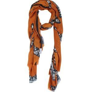 Zara Orange Butterfly Print Rectangle Fringe Scarf